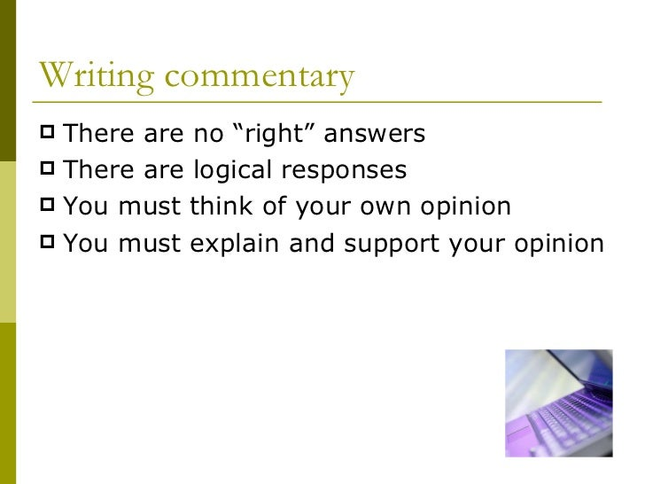 how to write a commentary on your own work