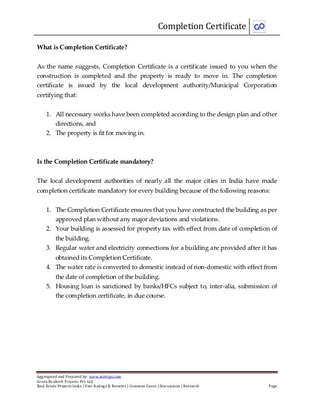 Completion Certificate Aggregated And Prepared By: Www.nirrtigo.com Green  Realtech Projects Pvt ...  Completion Certificate Format