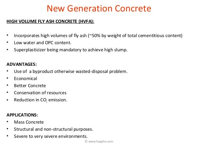 hvfa concrete The laboratory test results show that high-volume fly ash (hvfa) concrete  attained satisfactory compressive and tensile strength at 1 day of age it also  showed.