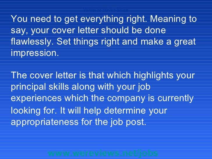 Define Cover Letter
