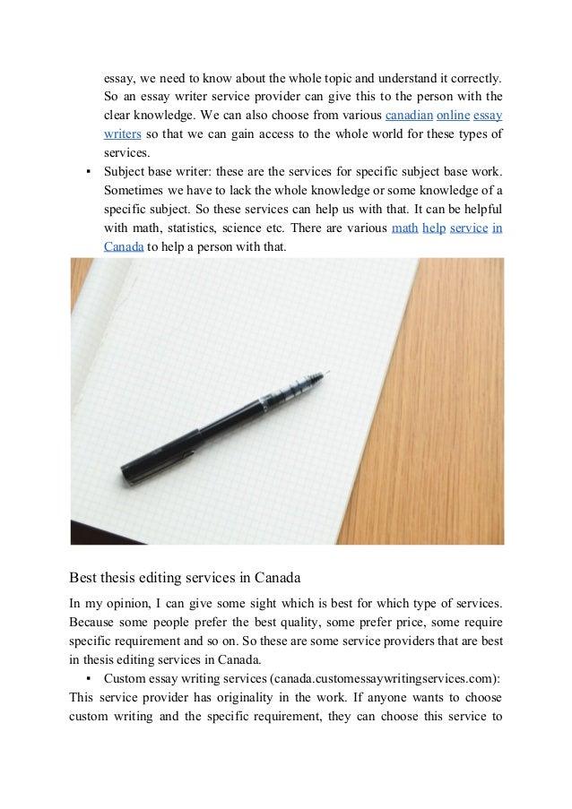 Essay writing service canada providers