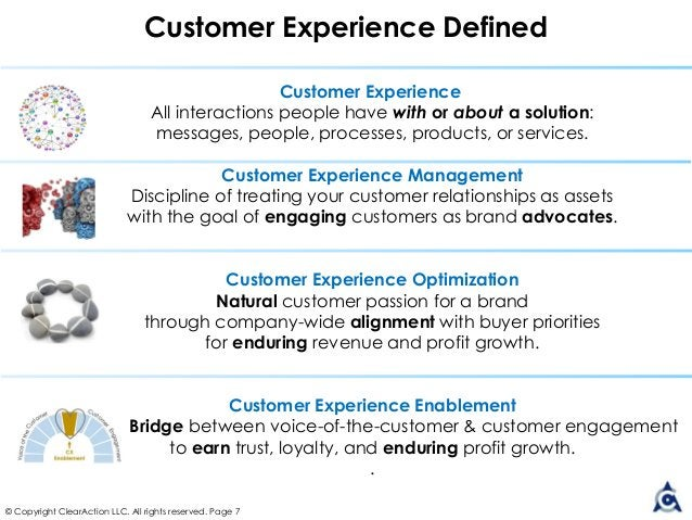 Customer Experience All interactions people have with or about a solution: messages, people, processes, products, or servi...
