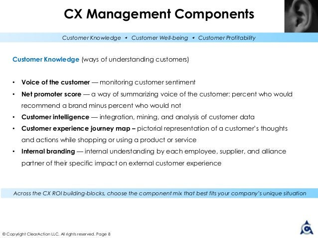 © Copyright ClearAction LLC. All rights reserved. Page 8 Customer Knowledge (ways of understanding customers) • Voice of t...
