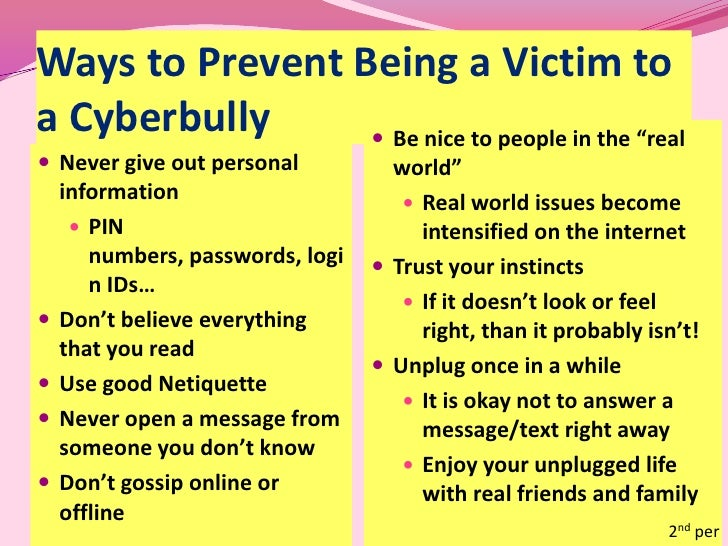 how to prevent cyber bullying Cyberbullying is the term used to describe bullying that occurs through  technology-based forms of communication as the use of text messaging, email  and.