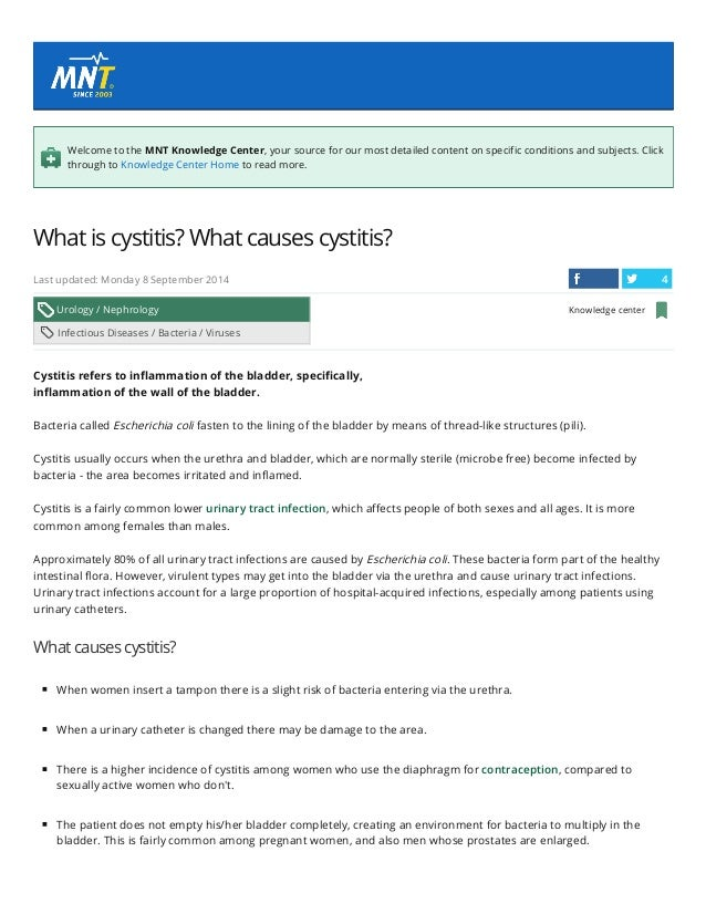 4/13/2015 What is cystitis? What causes cystitis? Medical News Today http://www.medicalnewstoday.com/articles/152997.php 1...