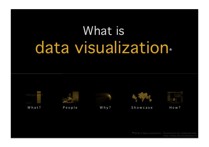 What is !   data visualization*!What?!   People!      Why?!    Showcase!                           How?!                  ...