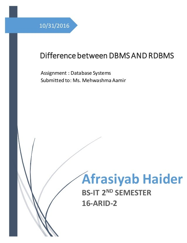 10/31/2016 Differencebetween DBMSANDRDBMS Afrasiyab Haider BS-IT 2ND SEMESTER 16-ARID-2 Assignment : Database Systems Subm...