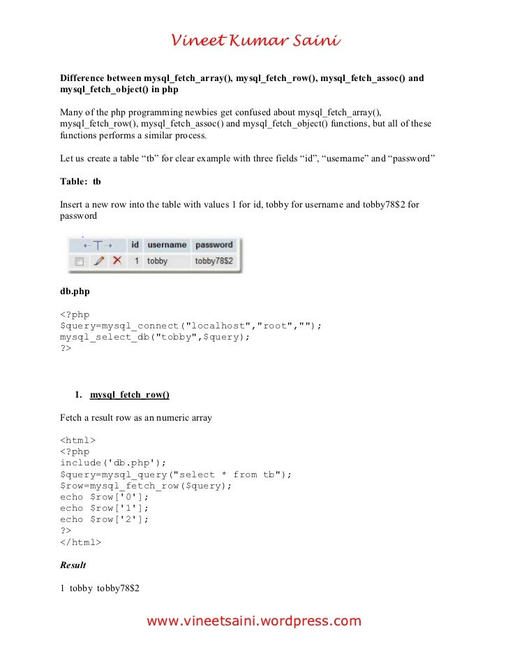 Vineet Kumar SainiDifference between mysql_fetch_array(), mysql_fetch_row(), mysql_fetch_assoc() andmysql_fetch_object() i...