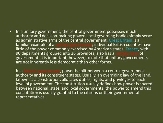 distinguish between federalism unitary and confedrate gove Unitary system vs federal system: that brings us to the comparison between the unitary and federal distinguish between unitary system of government and.