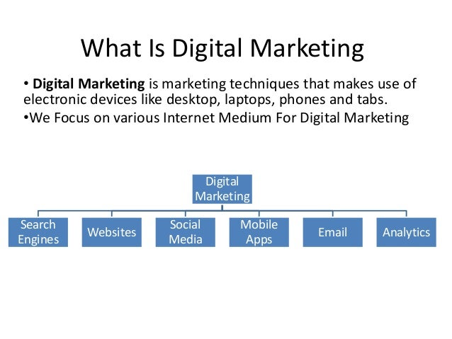What Is Digital Marketing • Digital Marketing is marketing techniques that makes use of electronic devices like desktop, l...