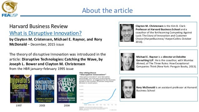 About the article Harvard Business Review What is Disruptive Innovation? by Clayton M. Cristensen, Michael E. Raynor, and ...