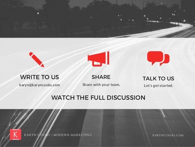 WRITE TO US karyn@karyncooks.com SHARE Share with your team. KARYNCOOKS.COM Let's get started. TALK TO US KARYN COOKS | MO...