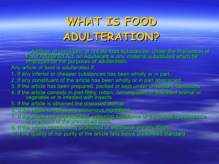 essay on adulteration of food stuffs Food adulteration has now become a burning problem  simple tests for the detection of food adulteration  sample essay on food problem in india.
