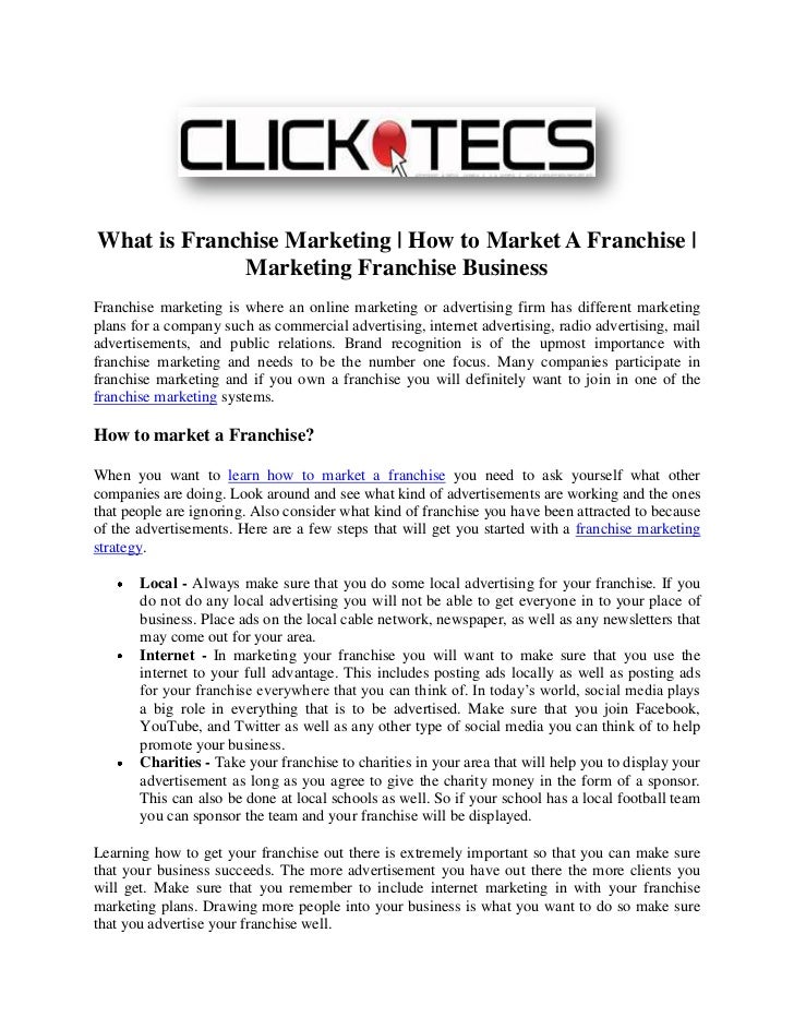 What is Franchise Marketing | How to Market A Franchise |             Marketing Franchise BusinessFranchise marketing is w...