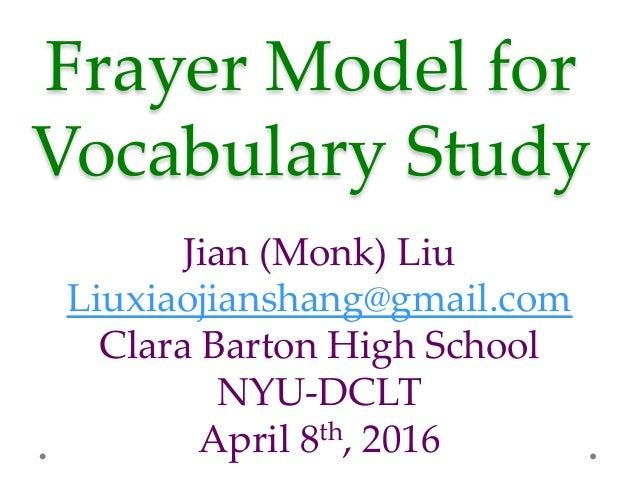Frayer Model for  Vocabulary Study  Jian (Monk) Liu Liuxiaojianshang@gmail.com Clara Barton High School NYU-...