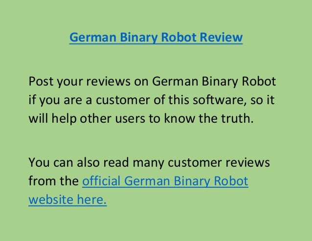 German binary options robot