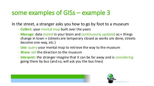 some examples of GISs – example 3  In the street, a stranger asks you how to go by foot to a museum  ∙ Collect: your menta...