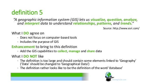 """definition 5  """"A geographic information system (GIS) lets us visualize, question, analyze,  and interpret data to understa..."""