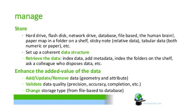 manage  Store  ∙ Hard drive, flash disk, network drive, database, file based, the human brain!,  paper map in a folder on ...