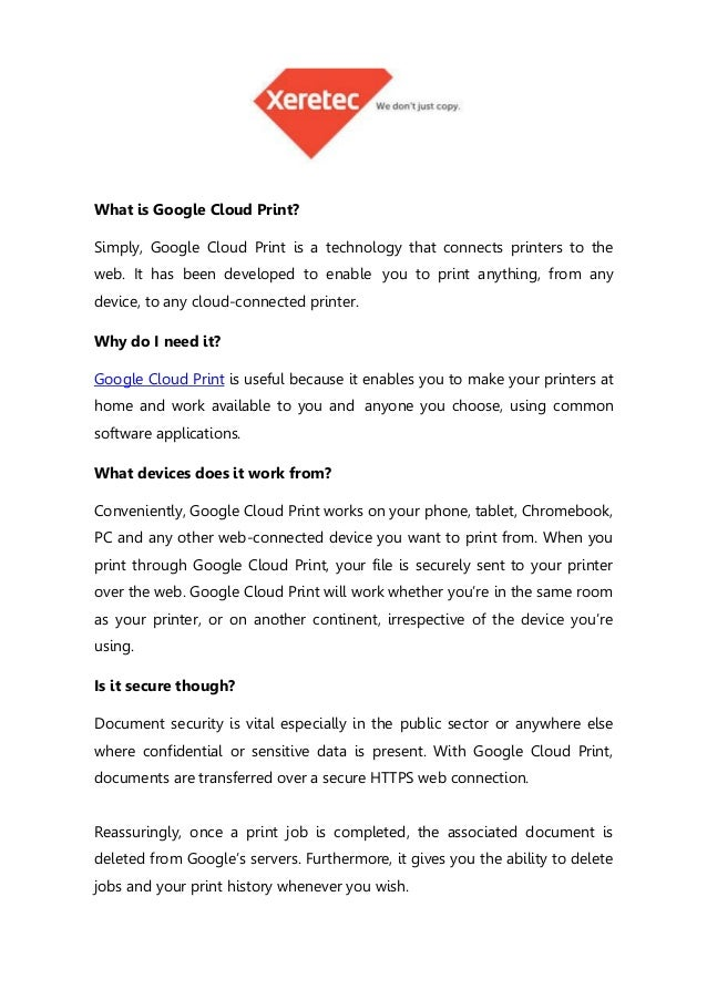 What Is Google Cloud Print Simply A Technology That Connects