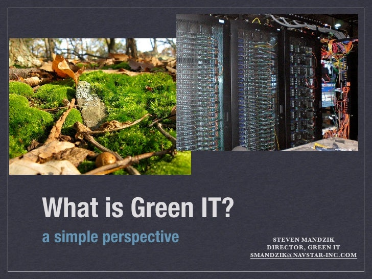 What is Green IT?	 a simple perspective        STEVEN MANDZIK                           DIRECTOR, GREEN IT                ...