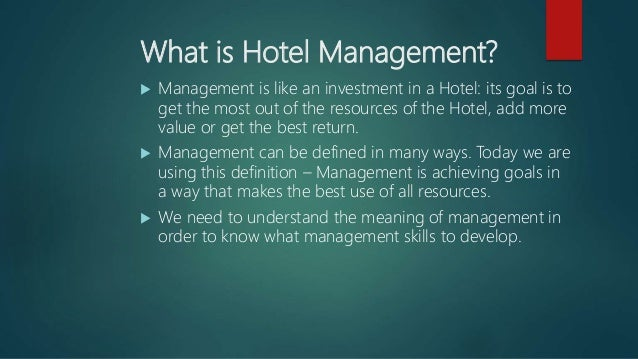 what is a hotel management
