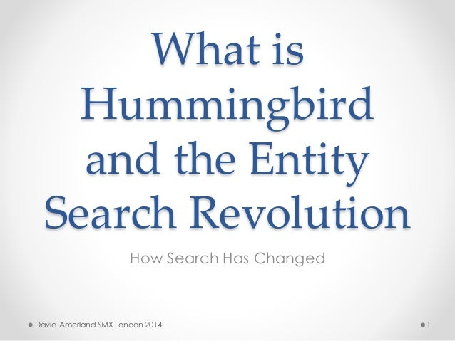 What is Hummingbird and the Entity Search Revolution How Search Has Changed 1David Amerland SMX London 2014