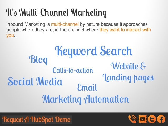 It's Multi-Channel Marketing Inbound Marketing is multi-channel by nature because it approaches people where they are, in ...