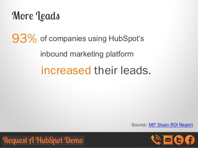 More Leads  93% of companies using HubSpot's inbound marketing platform  increased their leads.  Source: MIT Sloan ROI Rep...