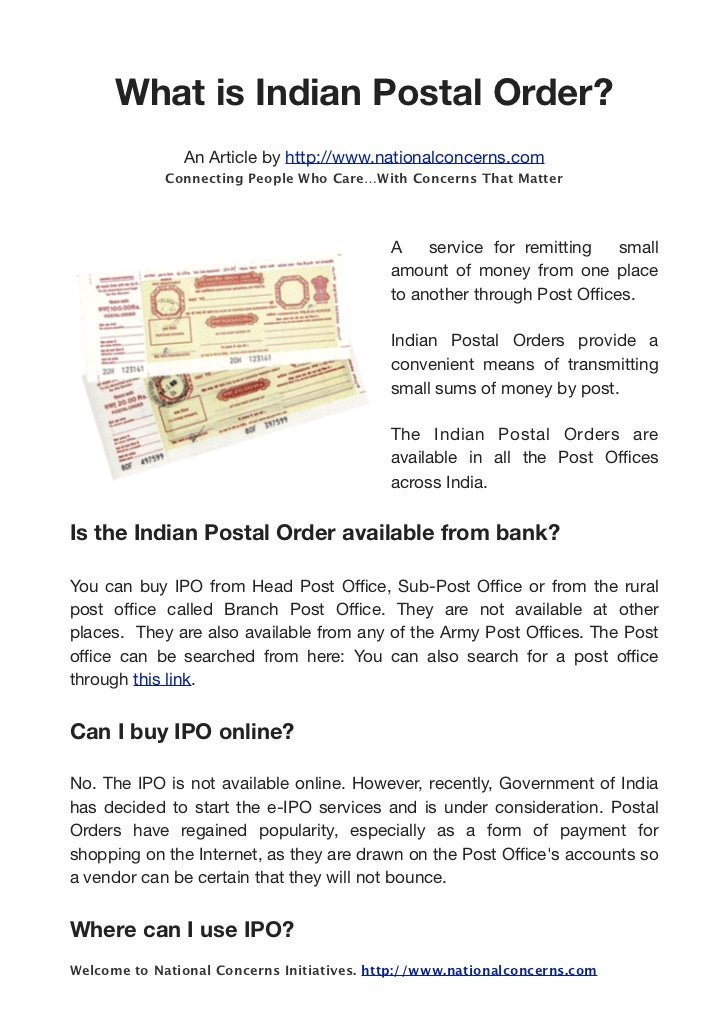Lovely What Is Indian Postal Order? An Article By Http://www.nationalconcerns ...