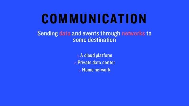 COMMUNICATION Sending data and events through networks to some destination o A cloud platform o Private data center o Home...
