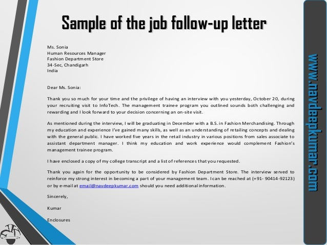 Sample Follow Up Letter For Job Application Status Sample Follow Up