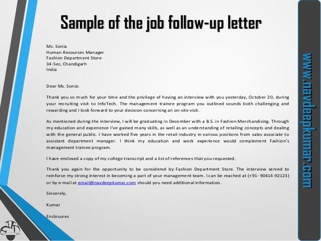 7. Www.navdeepkumar.comwww.navdeepkumar.com Sample Of The Job Follow Up ...  Follow Up Letter After Resume