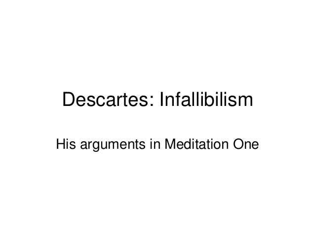 descartes meditation 1 Descartes meditation #1 study play the six meditations are a trade on the religious framework in genesis it took god six days to create the world, and descartes six meditations to establish a firm foundation for our knowledge of it what is the objective of meditation 1.