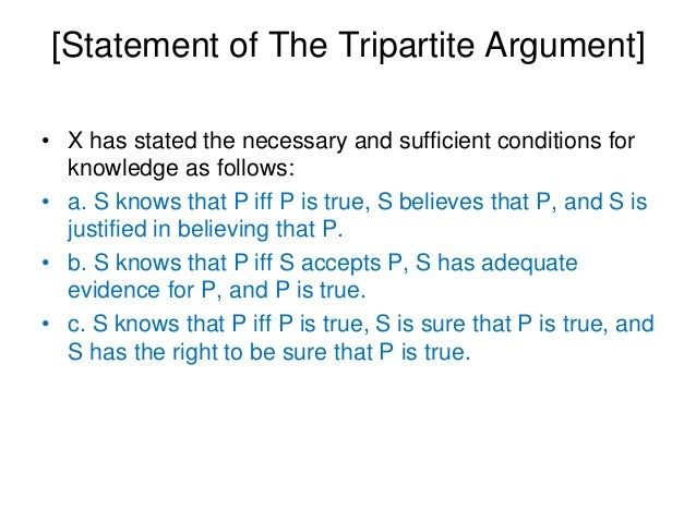 [Statement of The Tripartite Argument] • X has stated the necessary and sufficient conditions for knowledge as follows: • ...