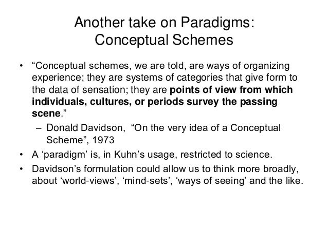 """Another take on Paradigms: Conceptual Schemes • """"Conceptual schemes, we are told, are ways of organizing experience; they ..."""