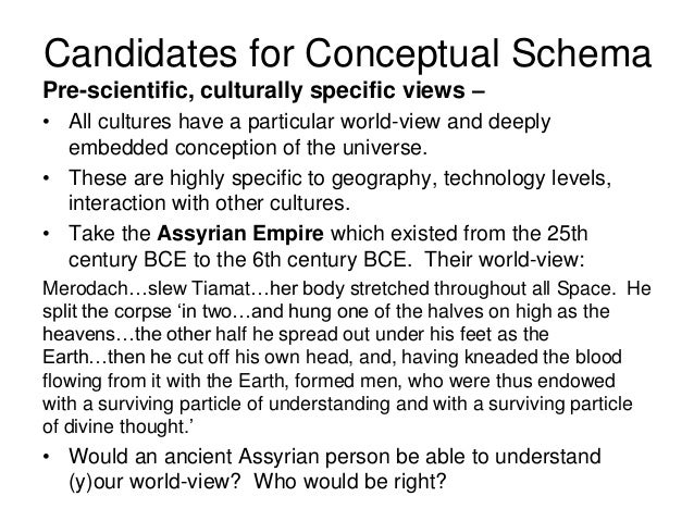 Pre-scientific, culturally specific views – • All cultures have a particular world-view and deeply embedded conception of ...