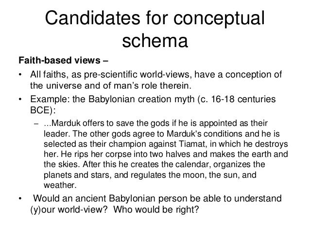 Candidates for conceptual schema Faith-based views – • All faiths, as pre-scientific world-views, have a conception of the...