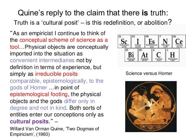"""Quine's reply to the claim that there is truth: Truth is a 'cultural posit' – is this redefinition, or abolition? """"As an e..."""
