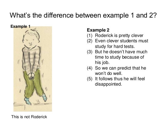 What's the difference between example 1 and 2? Example 2 (1) Roderick is pretty clever (2) Even clever students must study...