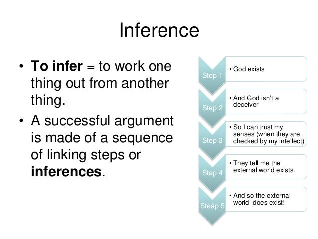 Inference • To infer = to work one thing out from another thing. • A successful argument is made of a sequence of linking ...
