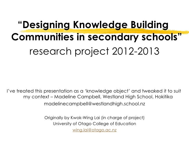 """Designing Knowledge Building Communities in secondary schools""    research project 2012-2013I've treated this presentatio..."