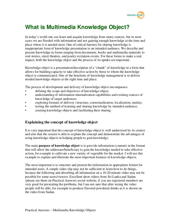 What is Multimedia Knowledge Object?In today's world one can learn and acquire knowledge from many sources, but in mostcas...