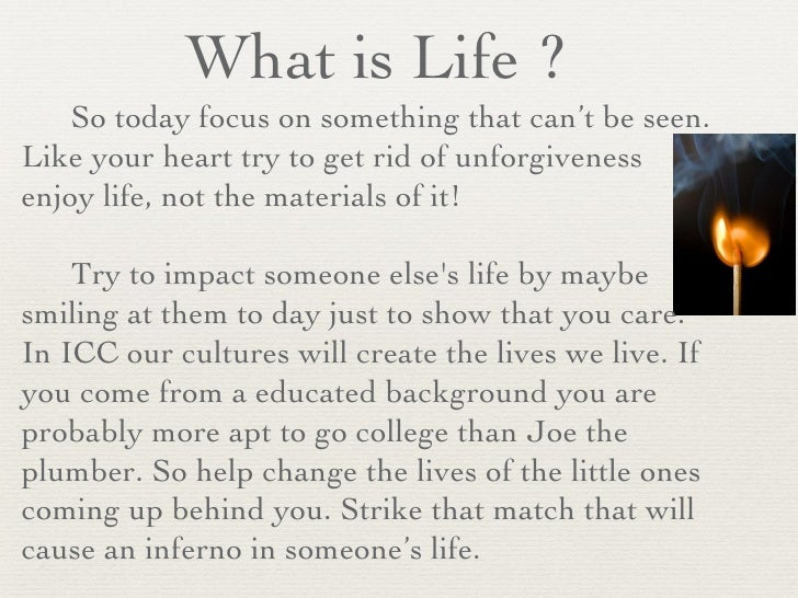 What is Life ? Is Culture really Life?