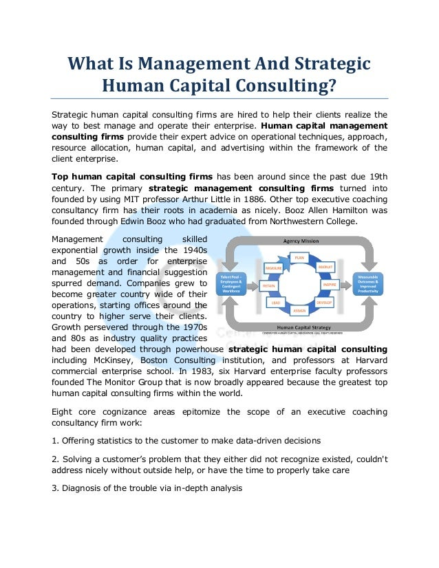 What Is Management And Strategic Human Capital Consulting