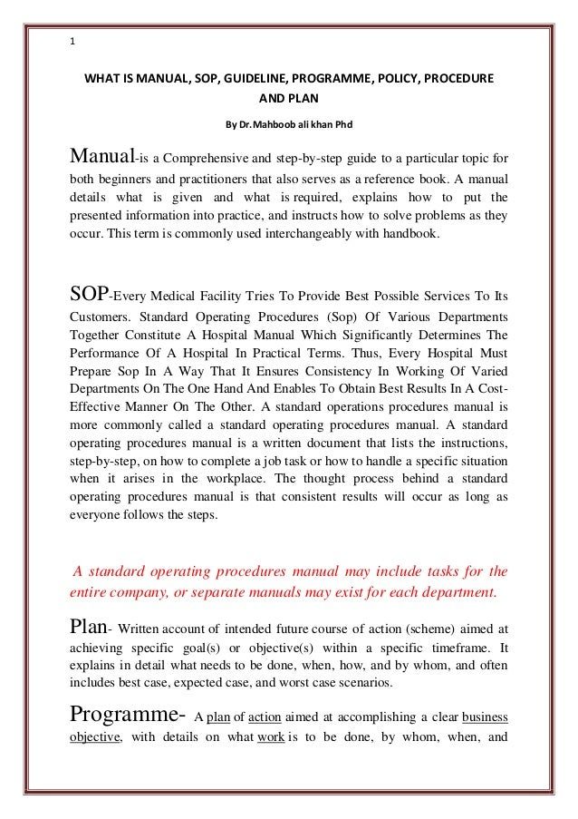 what is manual sop guideline programme policy procedure and plan rh slideshare net standard operating procedures manual navy standard operating procedures manual pdf