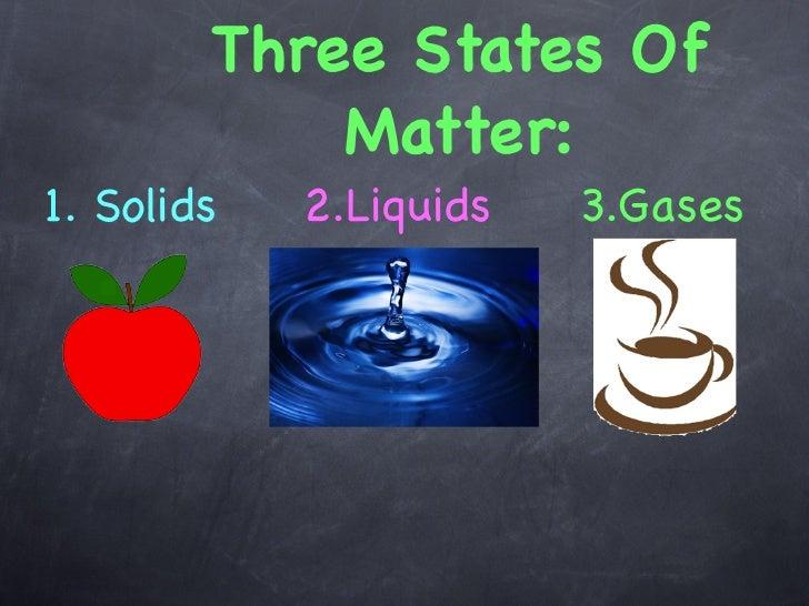 Three States Of            Matter:1. Solids   2.Liquids   3.Gases