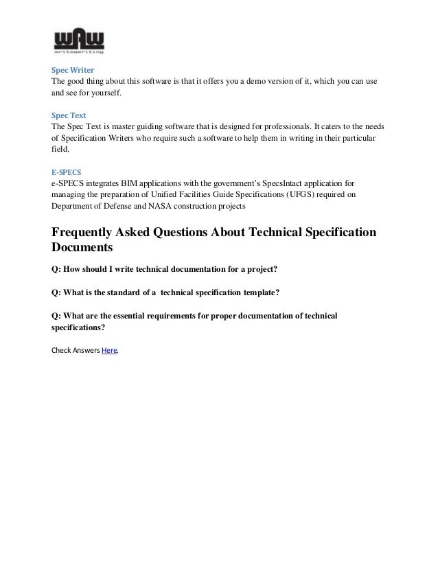 What Is Meant By Technical Spec Of Specification - How to write technical requirements