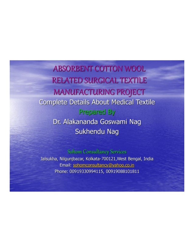 Cotton Wool Manufacturing Project Report