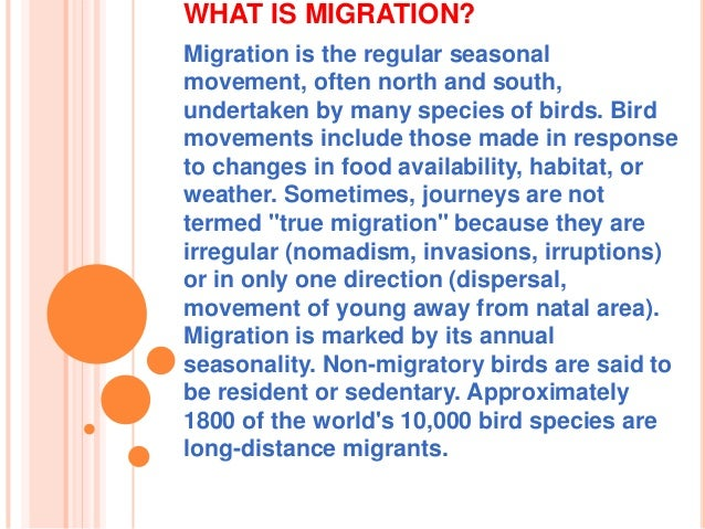 WHAT IS MIGRATION? Migration is the regular seasonal movement, often north and south, undertaken by many species of birds....